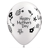 "11"" Mother&#39s Day Love Pearl White Latex Balloon"