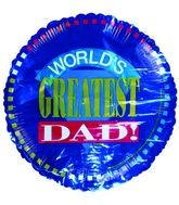 "18"" World&#39s Greatest Dad Blue Foil Balloon"
