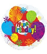 "18"" Happy Birthday Bright Mylar Balloon"