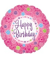 "18"" Pinkish Happy Birthday Mylar Balloon"
