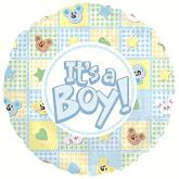 "18"" It&#39s a Boy Bear and Bunnies Balloon"