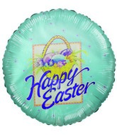 "4"" Happy Easter Easter Eggs Basket Blue Airfill Balloon"