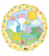"18"" &#39Welcome Baby&#39 Stork Polka Dots Mylar Balloons"