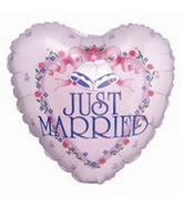 "4"" Airfill Balloon RIBBONS JUST MARRIED"