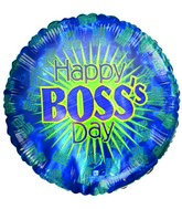 Happy Boss&#39 Day Phrases Blue Airfill Mylar Balloon