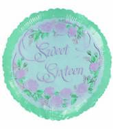 "18"" Sweet 16 Brithday Rose Green Border"