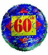 "18"" Happy 60th Birthday Streamers Green Border"