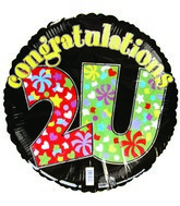"18"" Congratulations 2 U Confetti black Foil Balloon"