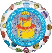 "18"" Polka Dot Birthday  Holographic Balloon"