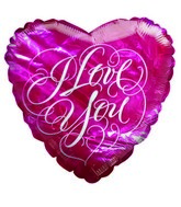 "9"" I Love You Script Pink Heart Airfill Mylar Balloon"