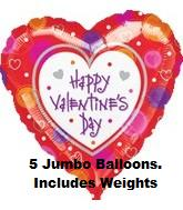 32&#39&#39 Valentine&#39s Day w/ Ribbon Weight (5 pack)