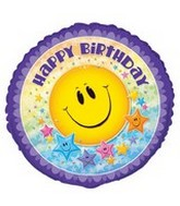 "18"" Smiley Stars Happy Birthday Balloon"