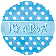 "9"" Airfill Its A Boy Dots Balloon"