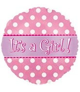 "18"" It`s a Girl Holographic Dots Mylar Balloon"