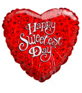 "9"" Airfill Happy Sweetest Day Heart Balloon"