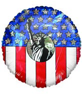 Statue of Libery & Flag Patriotic Airfill Mylar Balloon
