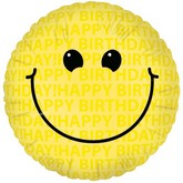 "18"" Happy Birthday Smiley Face Mylar Balloon"