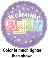 "18"" Welcome Baby Blocks Purple"