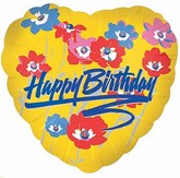 "18"" Happy Birthday Poppies Yellow Heart"
