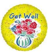"18"" Get Well Flower Vase Balloon"
