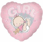 "18"" It's A Girl Heart Balloon"
