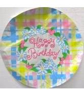 "18"" Happy Birthday Plaid Flowers Damaged Print"