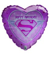 "18"" Happy Birthday SuperGirl emblem pink heart Damaged"