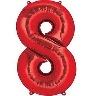 "30"" Number ""8"" Red Shape Foil Balloon"