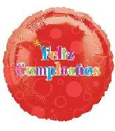 "18"" Feliz Cumpleanos Red Bubbles"