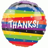 "18"" Thanks Stripes Mylar Balloon"