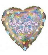 "32"" Holographic Welcome Baby Heart Shaped Mylar Balloon"