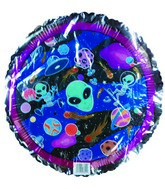 "18"" Aliens in outer space Silver Border Balloon"