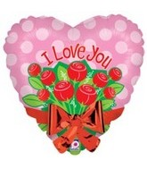 "21"" Jumbo Love With Flowers and Bow Balloon"