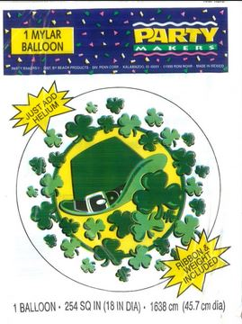 "18""Irish St. Patrick&#39s Day Silver Foil Balloon DAMAGE PRINT"