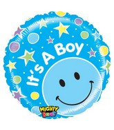 "21"" It&#39s a Boy! Stars Blue Smiley Balloon"