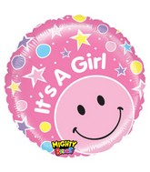 "21"" It&#39s a Girl! Stars Pink Smiley Balloon"