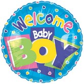 "18"" Welcome Baby Boy Blue Balloon"