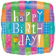 "18"" Happy Birthday Colorful Patterns Mylar Balloons"