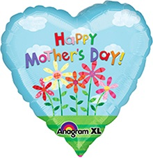 34'' Happy Mother's Day Coil Tail Mylar Balloon