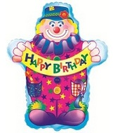 "18"" Happy Birthday Clown Balloon"