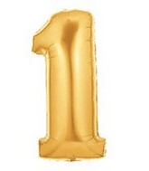 "40"" Large Number Balloon 1 Gold"