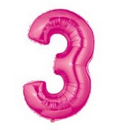 "40"" Large Number Balloon 3 Pink"