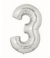 "40"" Large Number Balloon 3 Silver"