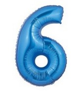 "40"" Large Number Balloon 6 Blue"