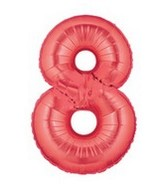 "40"" Large Number Balloon 8 Red"
