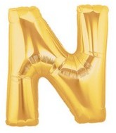 "40"" Large Letter Balloon N Gold"