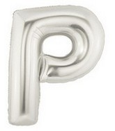 40 large letter balloon p silver