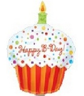 "11"" Airfill Happy Birthday Cupcake Balloon"