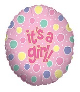 "36""  Its A Girl Dots Balloon"