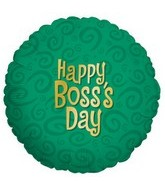 "18"" Happy Boss&#39s Day Swirl Green Balloon"